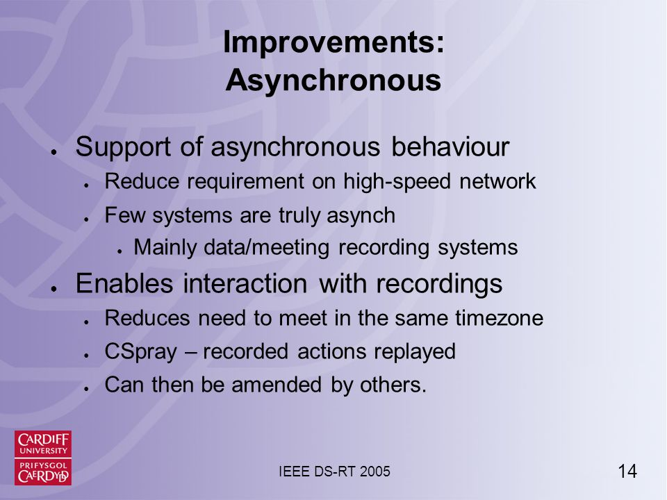 14 IEEE DS-RT 2005 Improvements: Asynchronous ● Support of asynchronous behaviour ● Reduce requirement on high-speed network ● Few systems are truly asynch ● Mainly data/meeting recording systems ● Enables interaction with recordings ● Reduces need to meet in the same timezone ● CSpray – recorded actions replayed ● Can then be amended by others.