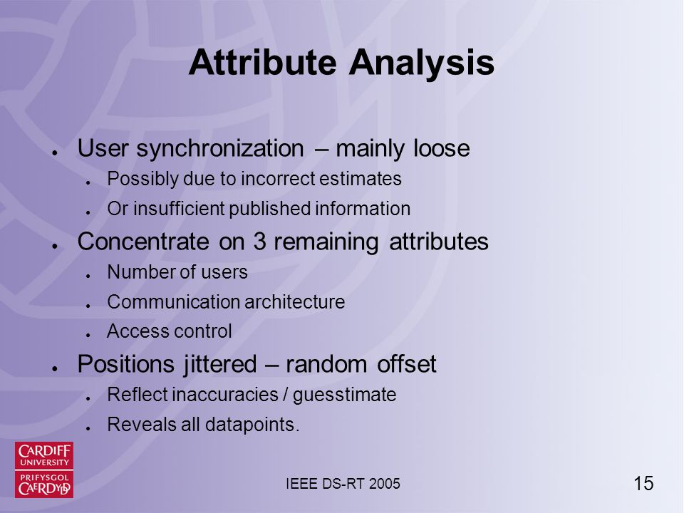 15 IEEE DS-RT 2005 Attribute Analysis ● User synchronization – mainly loose ● Possibly due to incorrect estimates ● Or insufficient published information ● Concentrate on 3 remaining attributes ● Number of users ● Communication architecture ● Access control ● Positions jittered – random offset ● Reflect inaccuracies / guesstimate ● Reveals all datapoints.