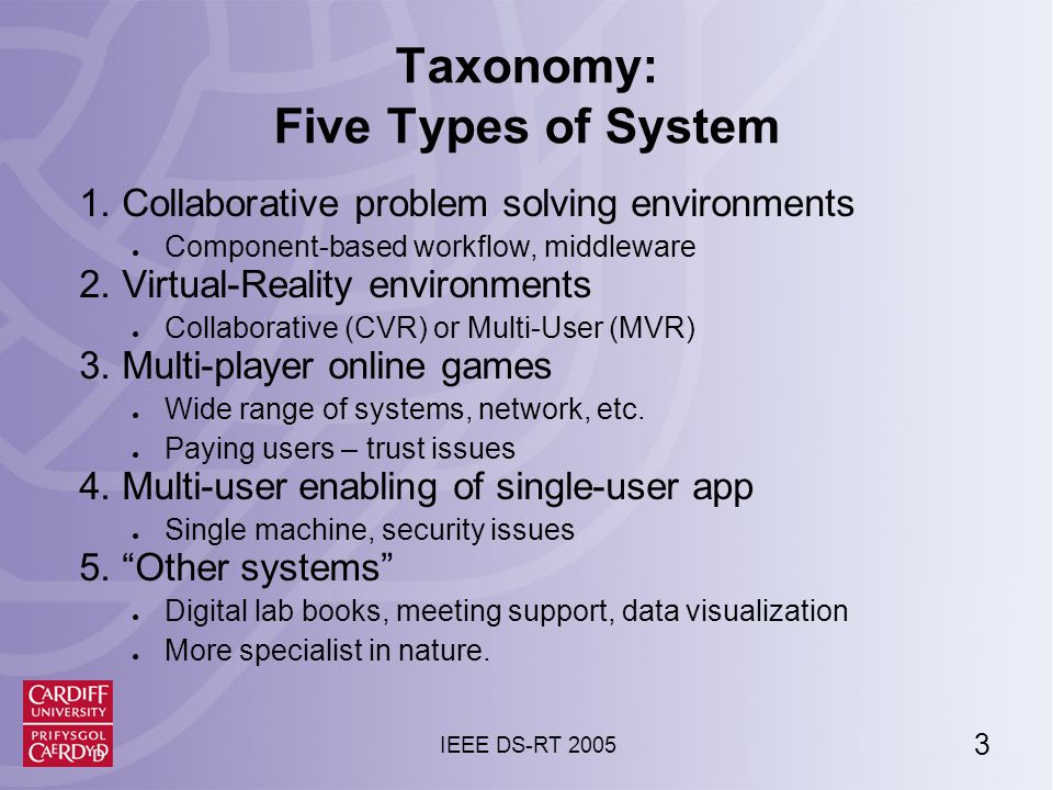 3 IEEE DS-RT 2005 Taxonomy: Five Types of System 1.