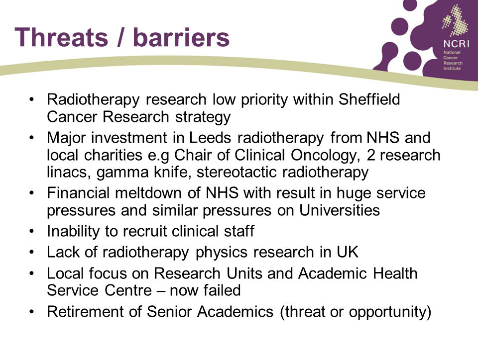 Threats / barriers Radiotherapy research low priority within Sheffield Cancer Research strategy Major investment in Leeds radiotherapy from NHS and local charities e.g Chair of Clinical Oncology, 2 research linacs, gamma knife, stereotactic radiotherapy Financial meltdown of NHS with result in huge service pressures and similar pressures on Universities Inability to recruit clinical staff Lack of radiotherapy physics research in UK Local focus on Research Units and Academic Health Service Centre – now failed Retirement of Senior Academics (threat or opportunity)