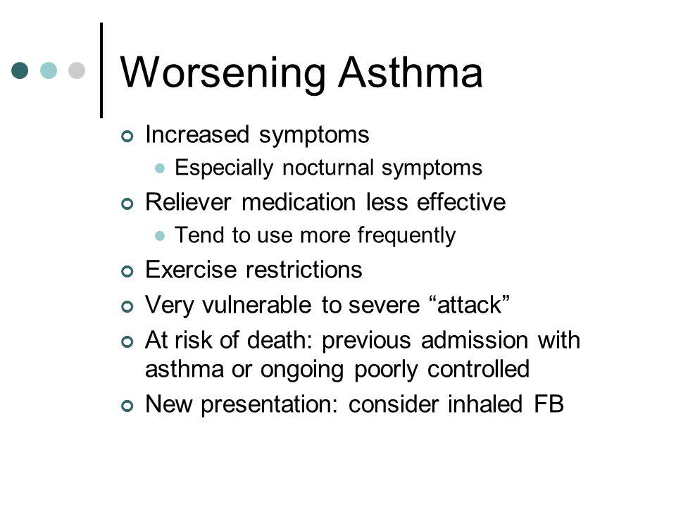 Signs of Severe Asthma Difficulty speaking Dyspnoea at rest > 25 breaths per min Possible wheeze Possible cough Tachycardia at rest > 110 beats per min Pulse oximetry < 96% at rest on air (PEFR < 50% of best / predicted)