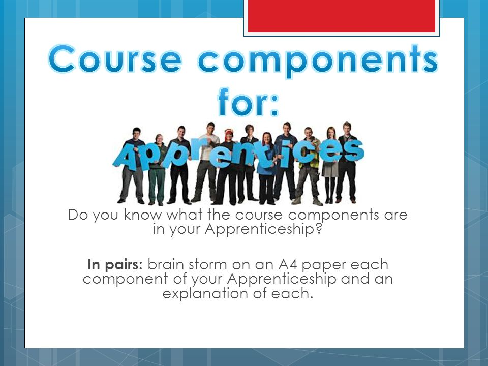 Do you know what the course components are in your Apprenticeship? In pairs: brain storm on an A4 paper each component of your Apprenticeship and an e