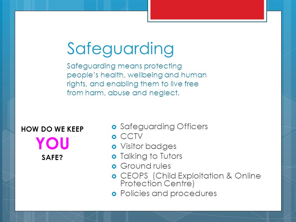 Safeguarding  Safeguarding Officers  CCTV  Visitor badges  Talking to Tutors  Ground rules  CEOPS (Child Exploitation & Online Protection Centre