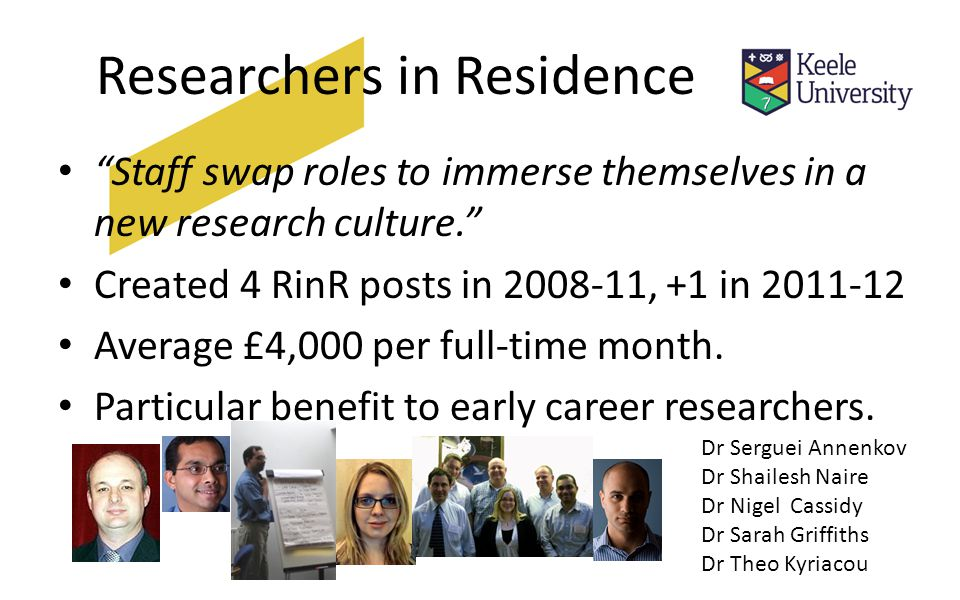 Researchers in Residence Staff swap roles to immerse themselves in a new research culture. Created 4 RinR posts in , +1 in Average £4,000 per full-time month.