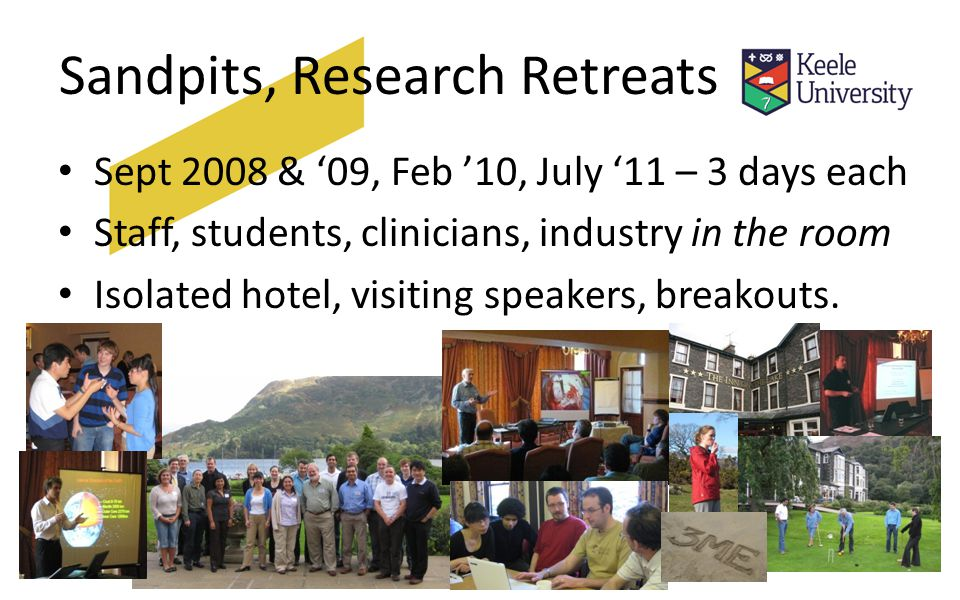 Sandpits, Research Retreats Sept 2008 & '09, Feb '10, July '11 – 3 days each Staff, students, clinicians, industry in the room Isolated hotel, visiting speakers, breakouts.