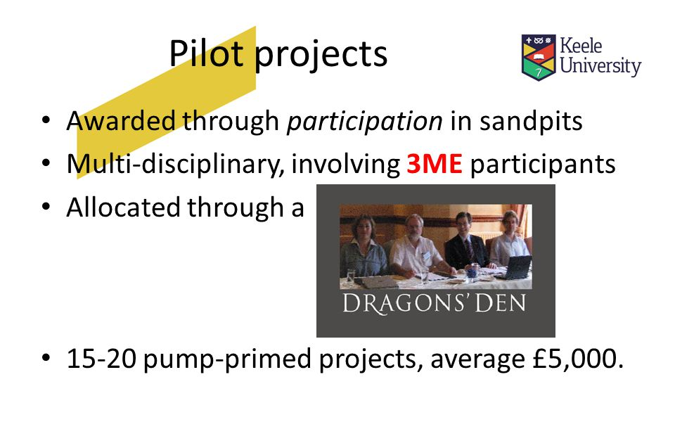 Pilot projects Awarded through participation in sandpits Multi-disciplinary, involving 3ME participants Allocated through a pump-primed projects, average £5,000.