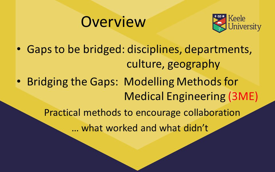Overview Gaps to be bridged: disciplines, departments, culture, geography Bridging the Gaps: Modelling Methods for Medical Engineering (3ME) Practical methods to encourage collaboration … what worked and what didn't