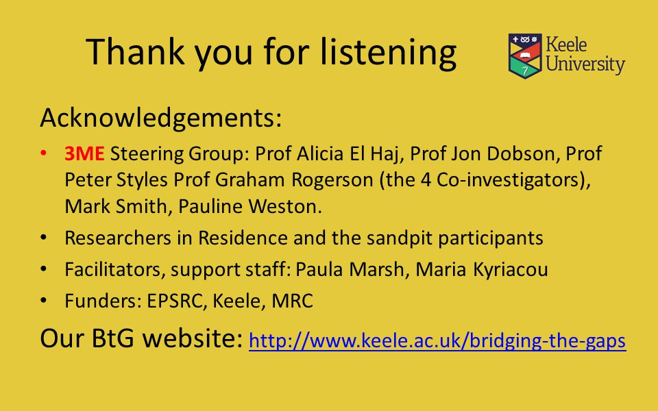 Thank you for listening Acknowledgements: 3ME Steering Group: Prof Alicia El Haj, Prof Jon Dobson, Prof Peter Styles Prof Graham Rogerson (the 4 Co-investigators), Mark Smith, Pauline Weston.