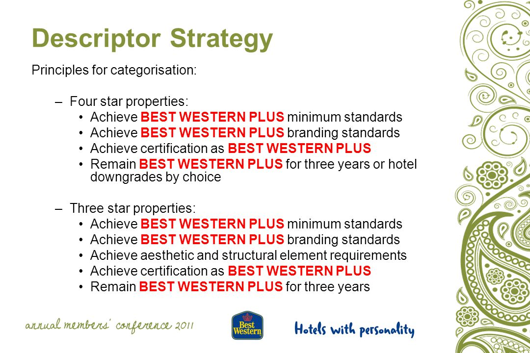 Quality and Minimum Standards: GRPA and Supplemental Facilities - a minimum score of 850 is required for Best Western hotels converting to BEST WESTERN PLUS.