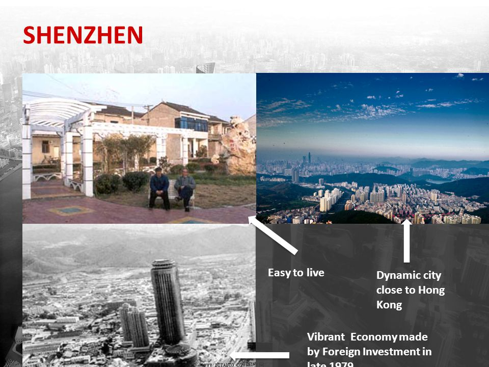 SHENZHEN Easy to live Dynamic city close to Hong Kong Vibrant Economy made by Foreign Investment in late 1979