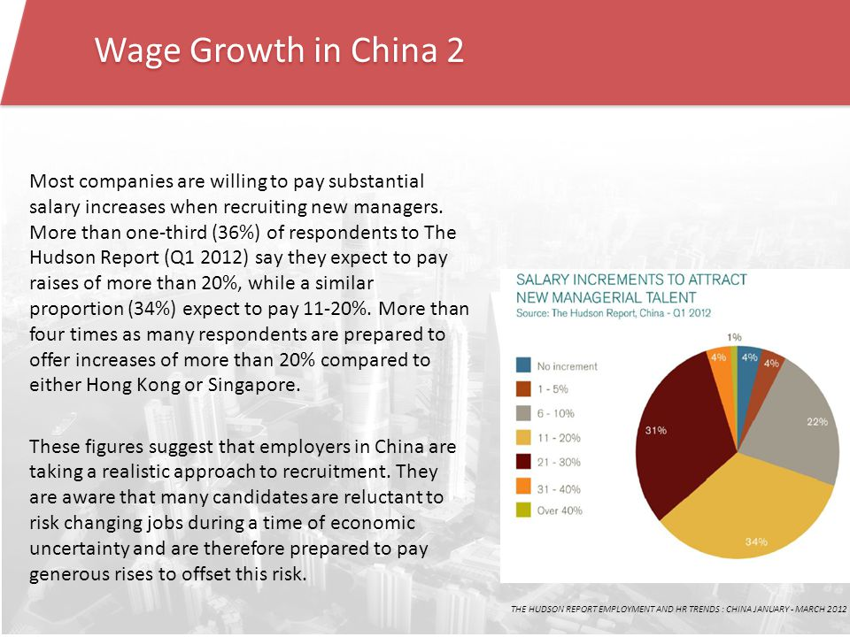 Wage Growth in China 2 Most companies are willing to pay substantial salary increases when recruiting new managers.