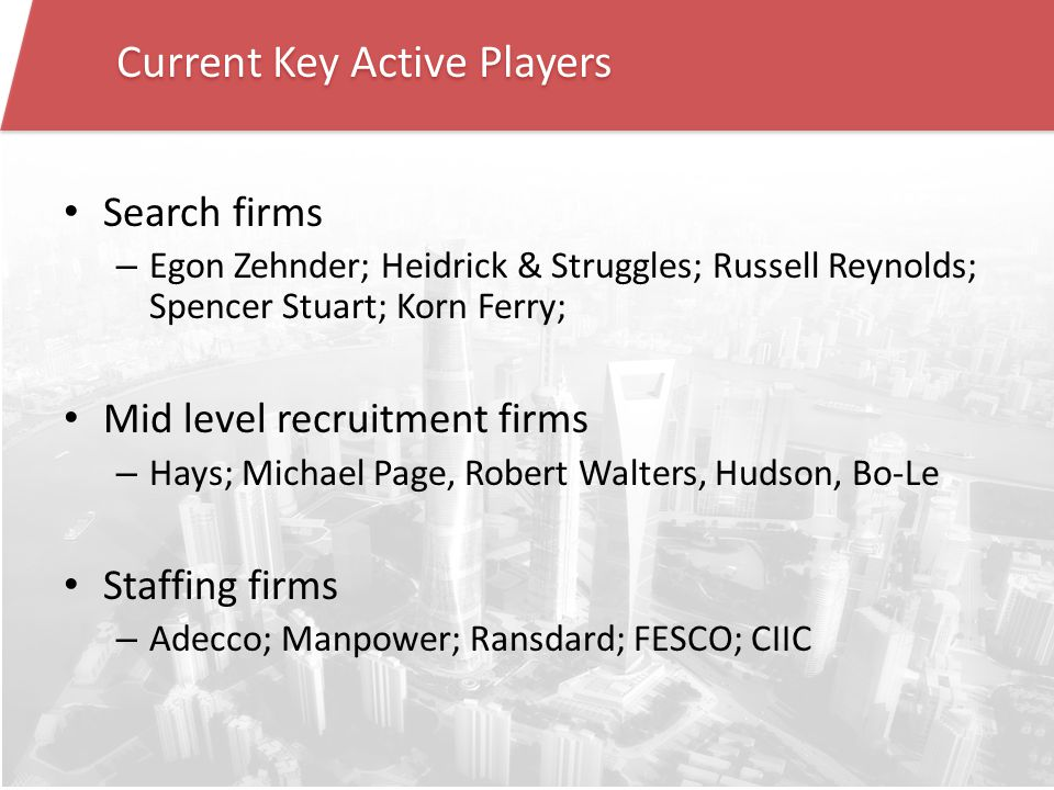 Current Key Active Players Search firms – Egon Zehnder; Heidrick & Struggles; Russell Reynolds; Spencer Stuart; Korn Ferry; Mid level recruitment firms – Hays; Michael Page, Robert Walters, Hudson, Bo-Le Staffing firms – Adecco; Manpower; Ransdard; FESCO; CIIC