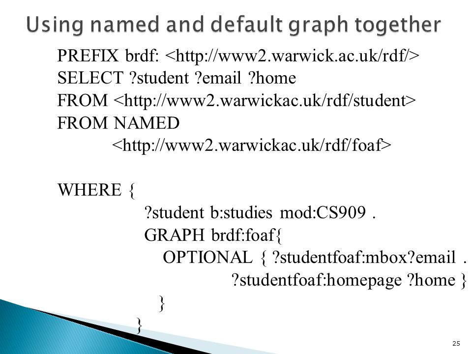 PREFIX brdf: SELECT student email home FROM FROM NAMED WHERE { student b:studies mod:CS909.