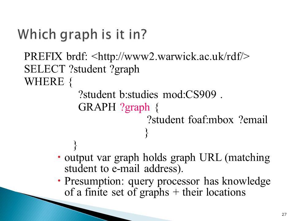 PREFIX brdf: SELECT student graph WHERE { student b:studies mod:CS909.