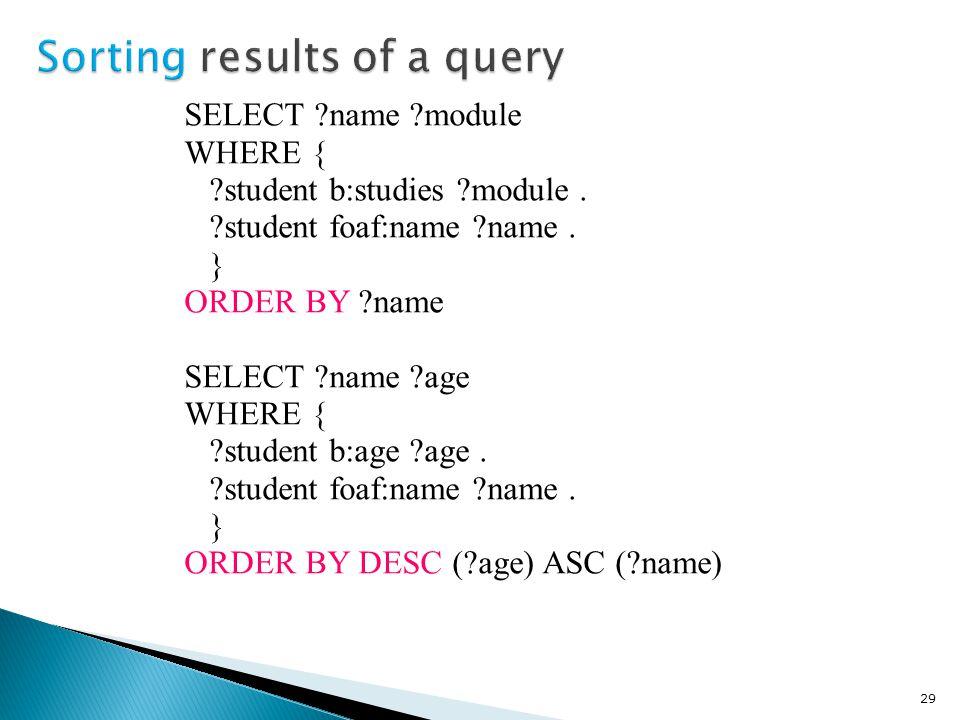SELECT name module WHERE { student b:studies module.