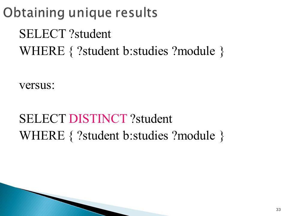 SELECT student WHERE { student b:studies module } versus: SELECT DISTINCT student WHERE { student b:studies module } 33
