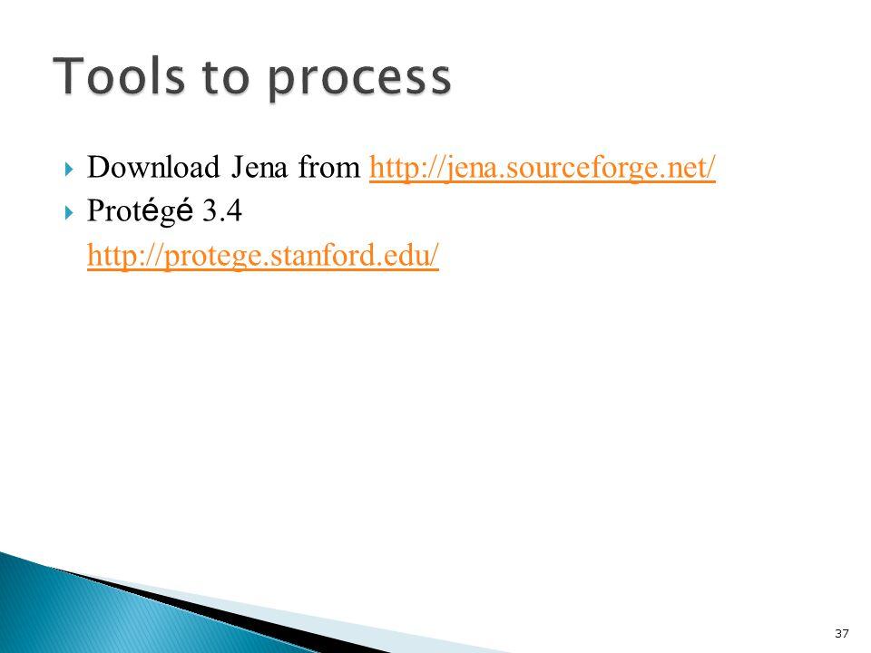  Download Jena from http://jena.sourceforge.net/http://jena.sourceforge.net/  Prot é g é 3.4 http://protege.stanford.edu/ 37