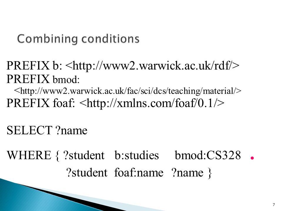 PREFIX b: PREFIX bmod: PREFIX foaf: SELECT name WHERE { student b:studies bmod:CS328.