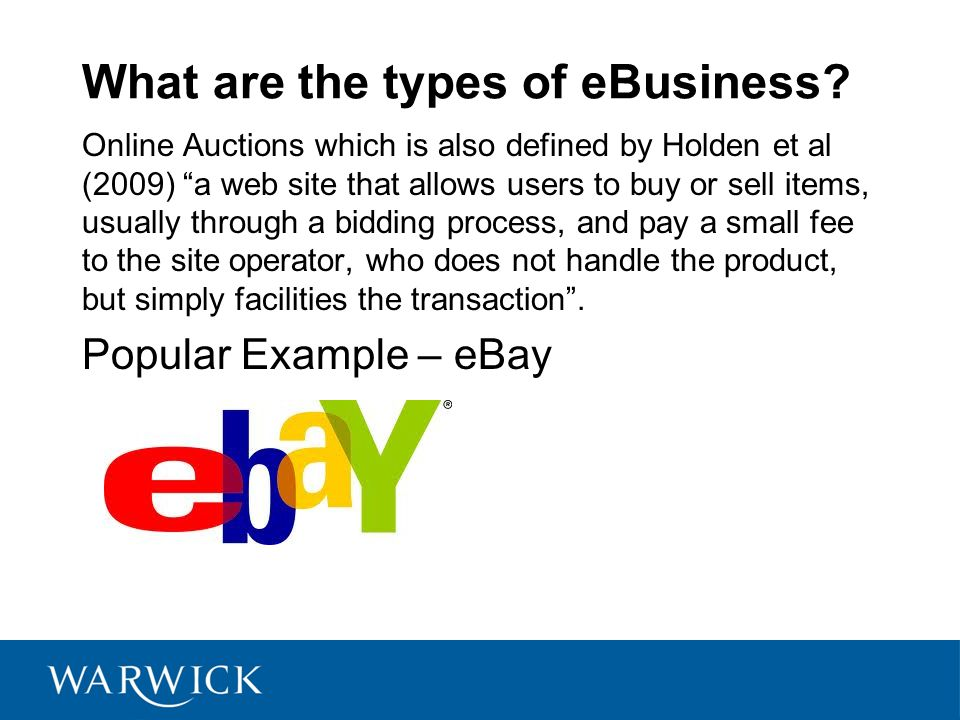 What are the types of eBusiness.
