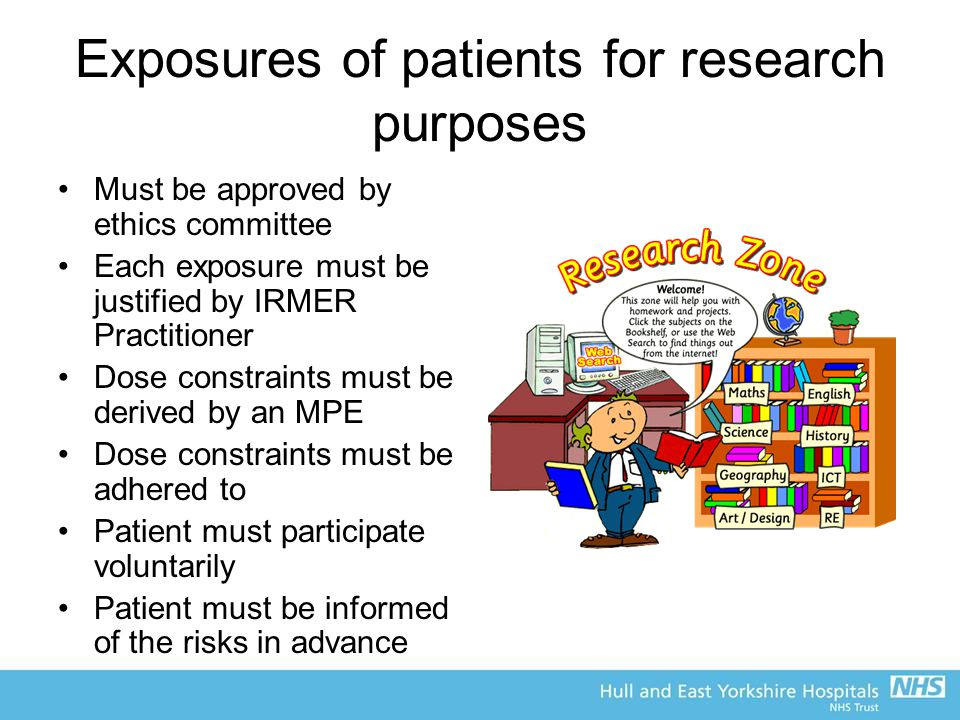 Exposures of patients for research purposes Must be approved by ethics committee Each exposure must be justified by IRMER Practitioner Dose constraints must be derived by an MPE Dose constraints must be adhered to Patient must participate voluntarily Patient must be informed of the risks in advance