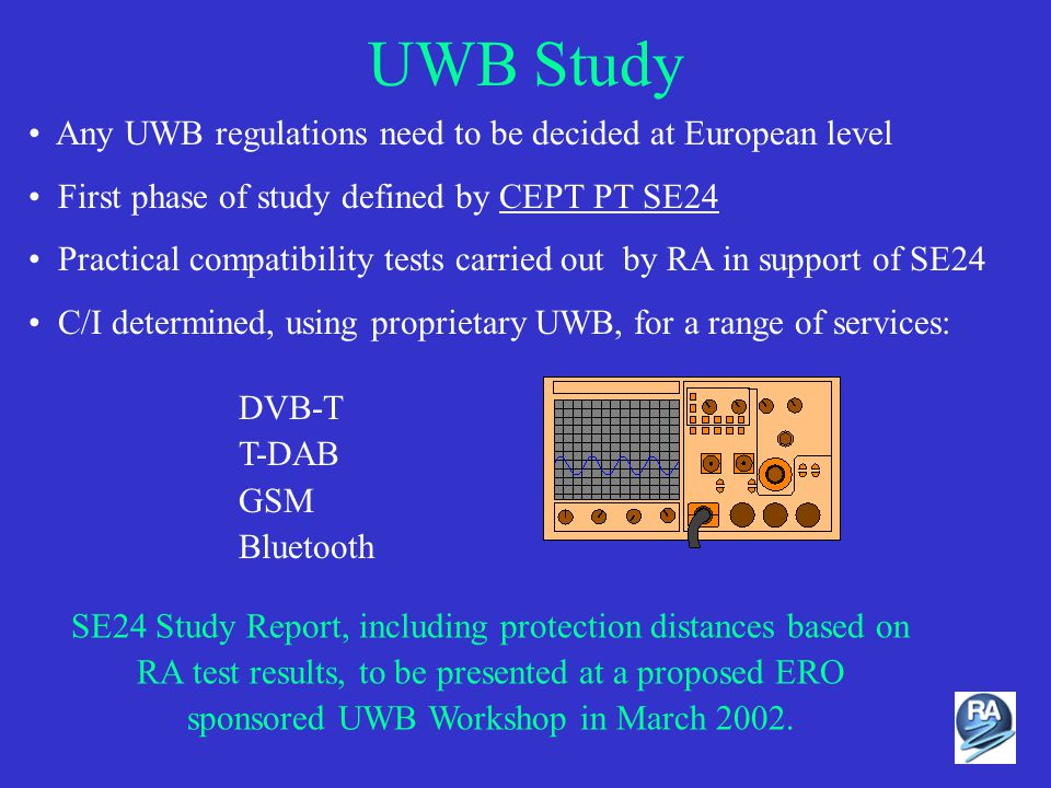 UWB Study Any UWB regulations need to be decided at European level First phase of study defined by CEPT PT SE24 Practical compatibility tests carried out by RA in support of SE24 C/I determined, using proprietary UWB, for a range of services: DVB-T T-DAB GSM Bluetooth SE24 Study Report, including protection distances based on RA test results, to be presented at a proposed ERO sponsored UWB Workshop in March 2002.