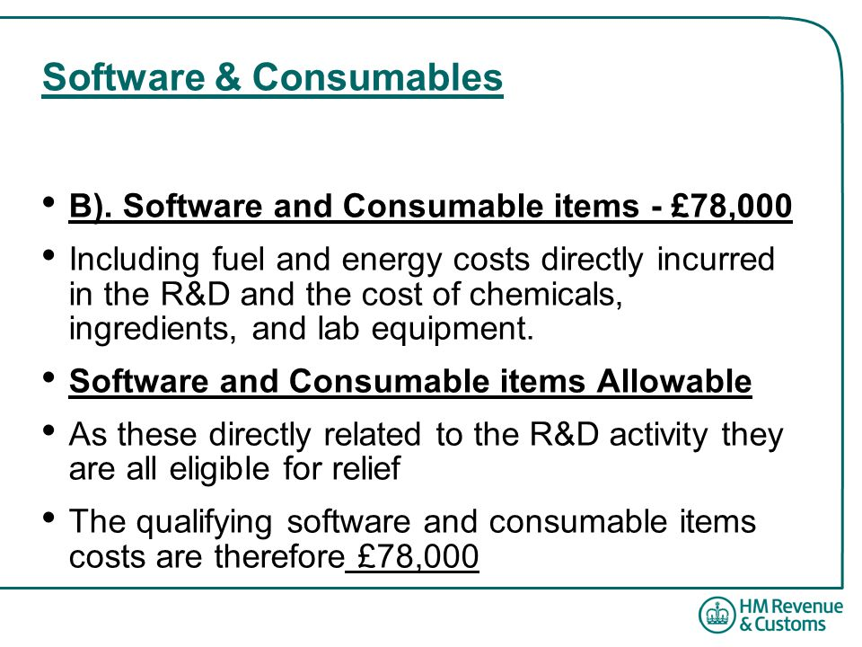 Software & Consumables B).
