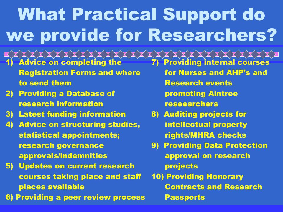 What is our main remit for Aintree Trust's Researchers?
