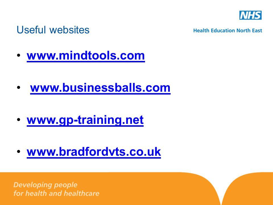 Useful websites www.mindtools.com www.businessballs.com www.gp-training.net www.bradfordvts.co.uk