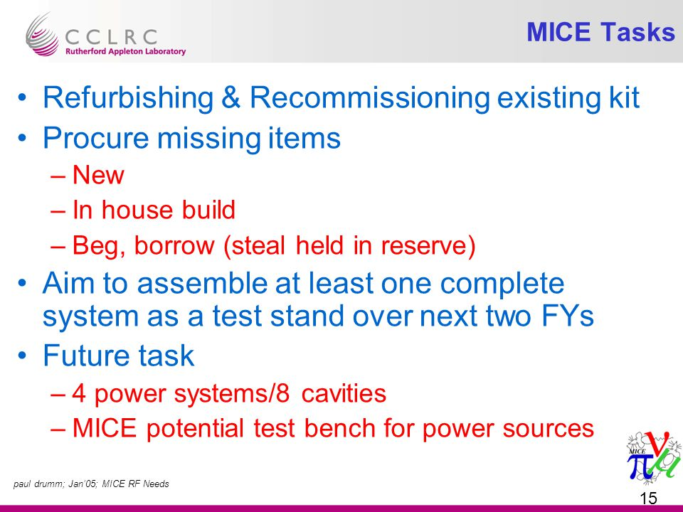 paul drumm; Jan'05; MICE RF Needs 15 MICE Tasks Refurbishing & Recommissioning existing kit Procure missing items –New –In house build –Beg, borrow (steal held in reserve) Aim to assemble at least one complete system as a test stand over next two FYs Future task –4 power systems/8 cavities –MICE potential test bench for power sources