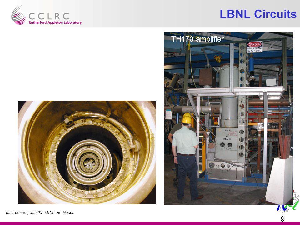 paul drumm; Jan'05; MICE RF Needs 9 LBNL Circuits TH170 amplifier