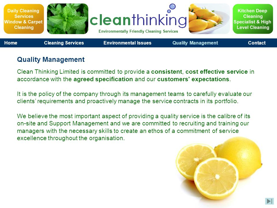 Environmentally Friendly Cleaning Services HomeCleaning ServicesEnvironmental IssuesQuality ManagementContact 020 7608 5778 info@clean-thinking.com Clean Thinking Ltd., Head Office, 2nd Floor, 145-157 St John Street, London, EC1V 4PY