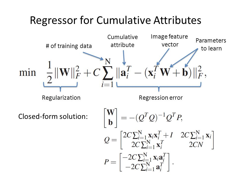 Regressor for Cumulative Attributes RegularizationRegression error # of training data Cumulative attribute Image feature vector Parameters to learn Closed-form solution: