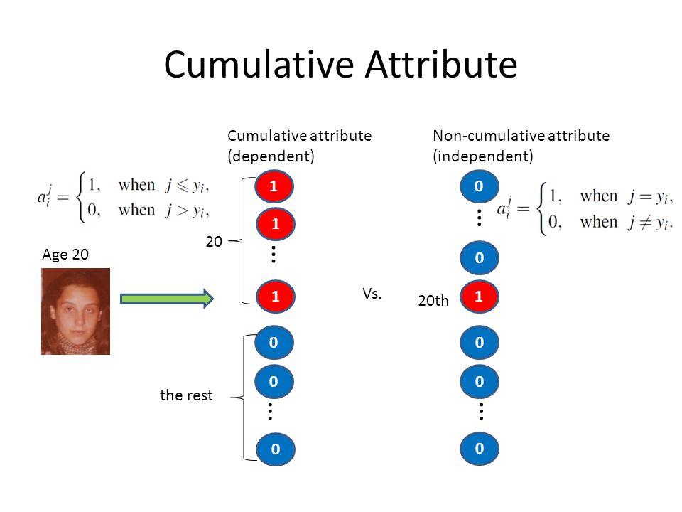 Cumulative Attribute Age 20 1 1 0 1 … 20 0 … 0 the rest Cumulative attribute (dependent) Vs. 0 1 … 20th 0 … 0 Non-cumulative attribute (independent) 0