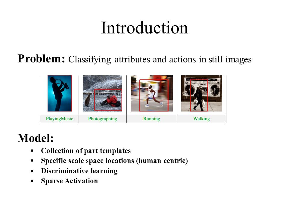 Introduction Problem: Classifying attributes and actions in still images Model:  Collection of part templates  Specific scale space locations (human centric)  Discriminative learning  Sparse Activation