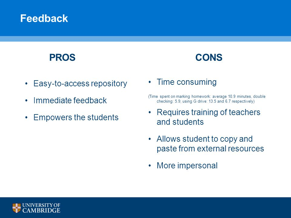 Feedback PROS Easy-to-access repository Immediate feedback Empowers the students CONS Time consuming (Time spent on marking homework: average 10.9 min
