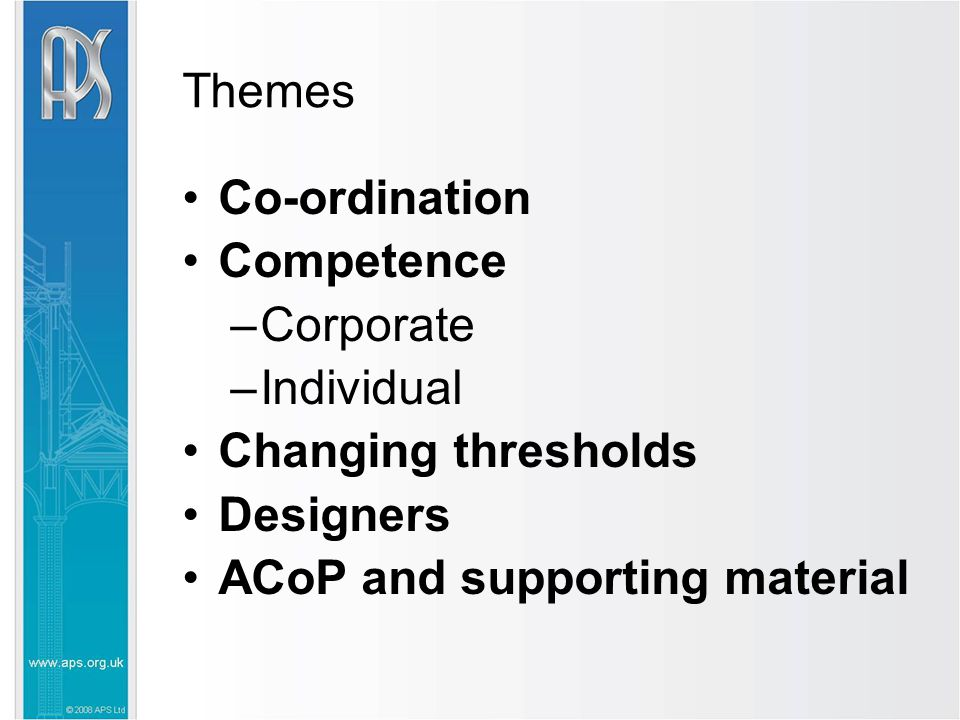 Themes Co-ordination Competence –Corporate –Individual Changing thresholds Designers ACoP and supporting material
