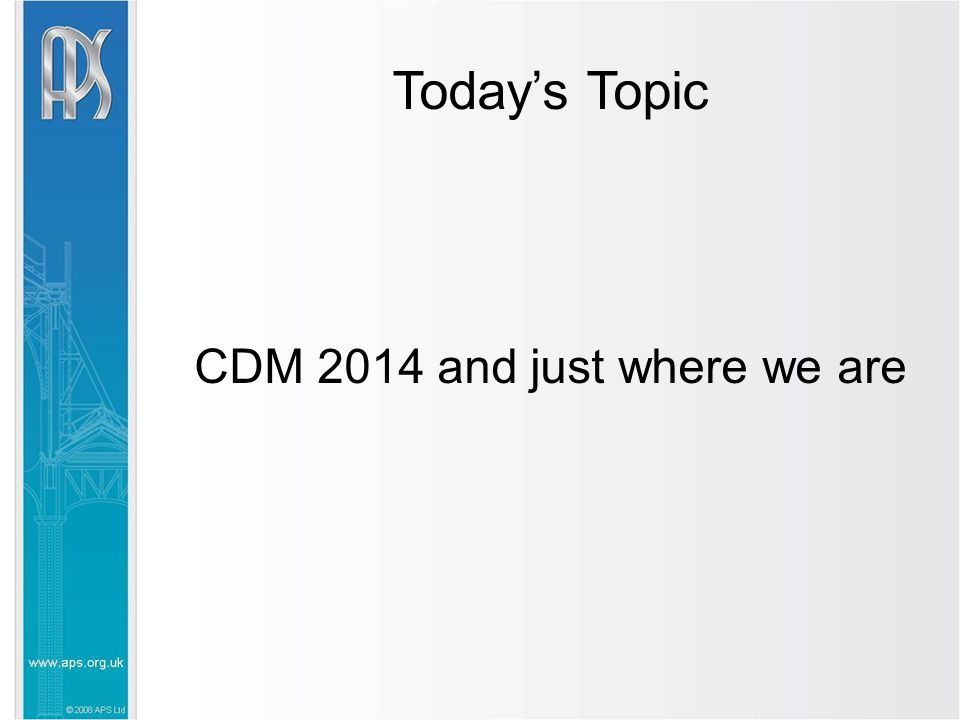 Today's Topic CDM 2014 and just where we are