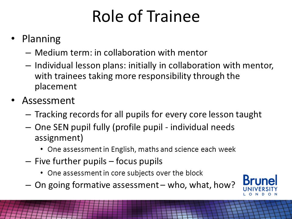Role of Trainee Planning – Medium term: in collaboration with mentor – Individual lesson plans: initially in collaboration with mentor, with trainees taking more responsibility through the placement Assessment – Tracking records for all pupils for every core lesson taught – One SEN pupil fully (profile pupil - individual needs assignment) One assessment in English, maths and science each week – Five further pupils – focus pupils One assessment in core subjects over the block – On going formative assessment – who, what, how?