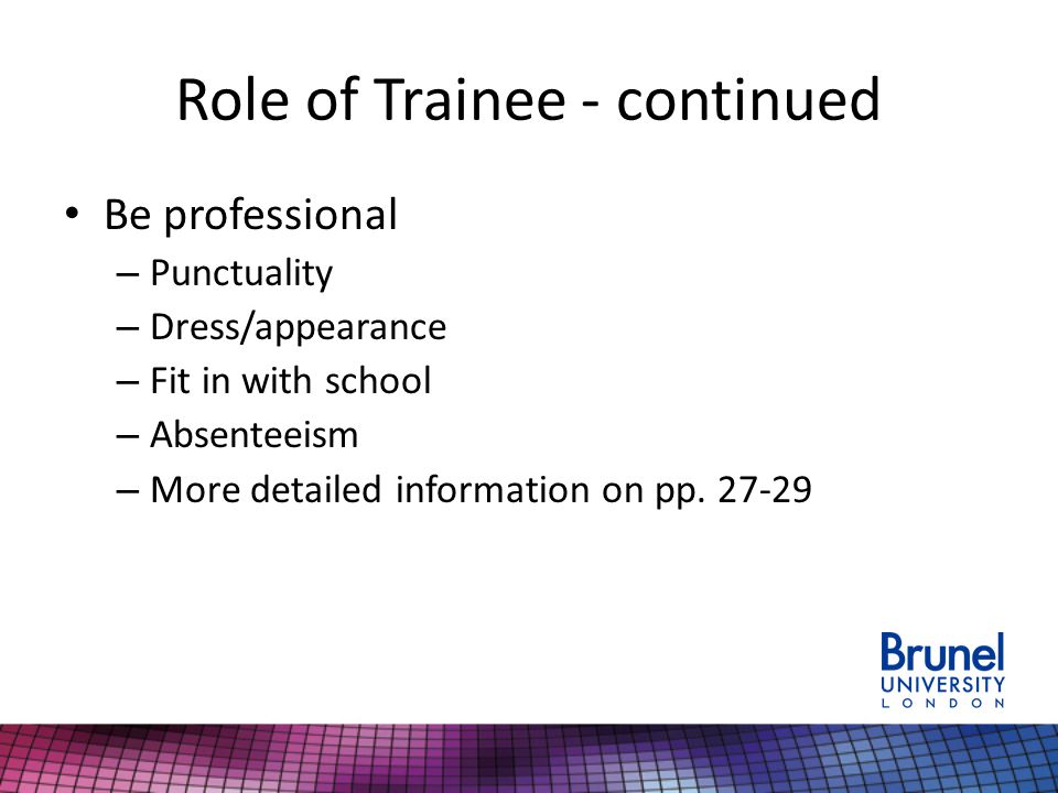 Role of Trainee - continued Be professional – Punctuality – Dress/appearance – Fit in with school – Absenteeism – More detailed information on pp.