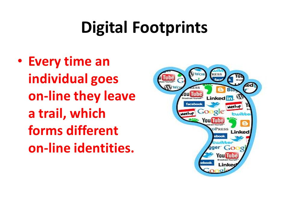 Digital Footprints Every time an individual goes on-line they leave a trail, which forms different on-line identities.