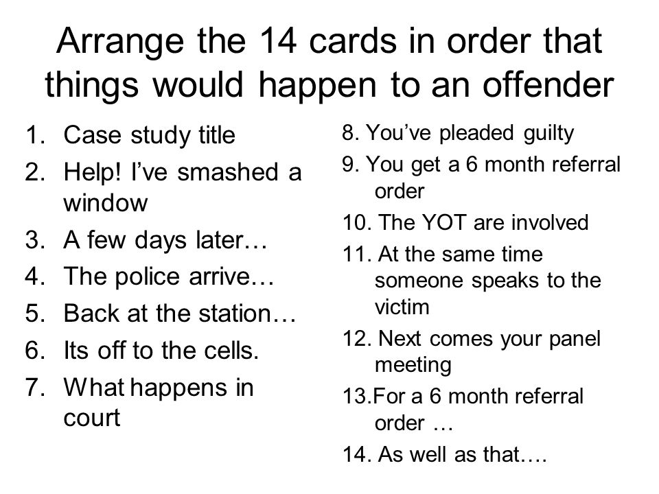 Arrange the 14 cards in order that things would happen to an offender 1.Case study title 2.Help.