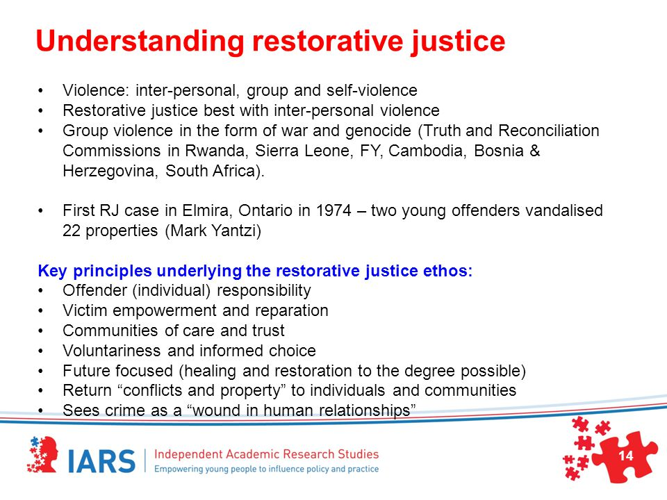 Understanding restorative justice Violence: inter-personal, group and self-violence Restorative justice best with inter-personal violence Group violence in the form of war and genocide (Truth and Reconciliation Commissions in Rwanda, Sierra Leone, FY, Cambodia, Bosnia & Herzegovina, South Africa).
