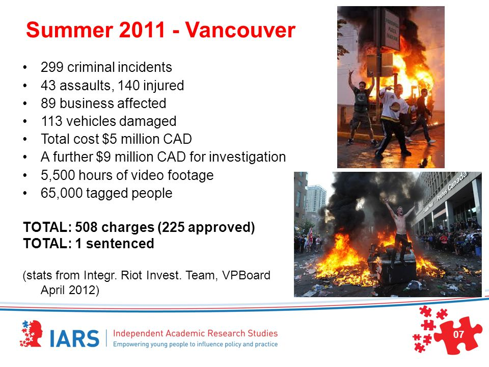 Summer 2011 - Vancouver 299 criminal incidents 43 assaults, 140 injured 89 business affected 113 vehicles damaged Total cost $5 million CAD A further $9 million CAD for investigation 5,500 hours of video footage 65,000 tagged people TOTAL: 508 charges (225 approved) TOTAL: 1 sentenced (stats from Integr.
