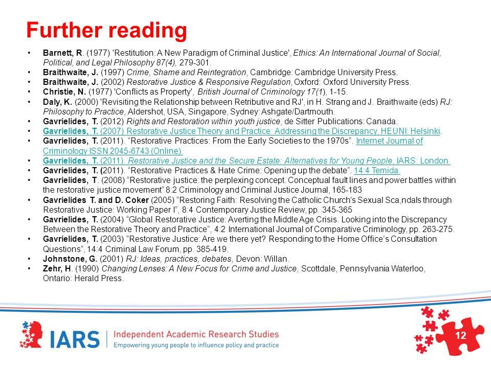 Further reading Barnett, R.