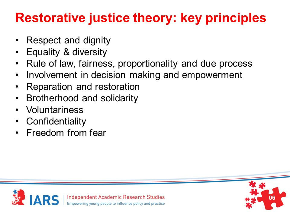 Restorative justice theory: key principles Respect and dignity Equality & diversity Rule of law, fairness, proportionality and due process Involvement in decision making and empowerment Reparation and restoration Brotherhood and solidarity Voluntariness Confidentiality Freedom from fear 06