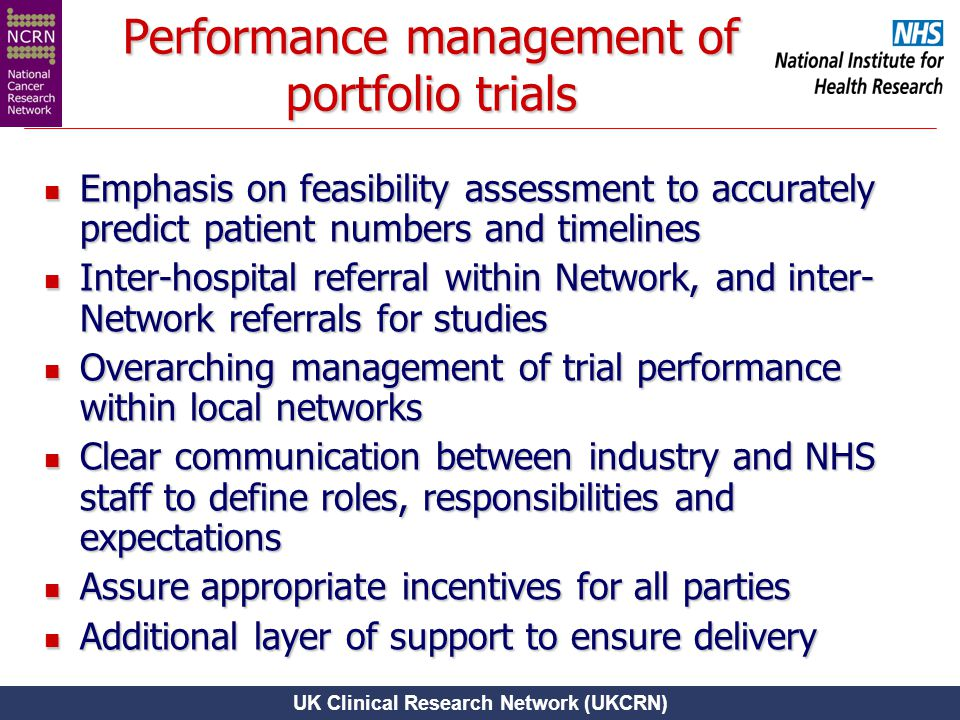 UK Clinical Research Network (UKCRN) Performance management of portfolio trials Emphasis on feasibility assessment to accurately predict patient numbe