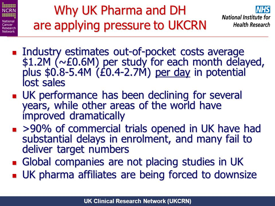 UK Clinical Research Network (UKCRN) Why UK Pharma and DH are applying pressure to UKCRN Industry estimates out-of-pocket costs average $1.2M (~£0.6M)
