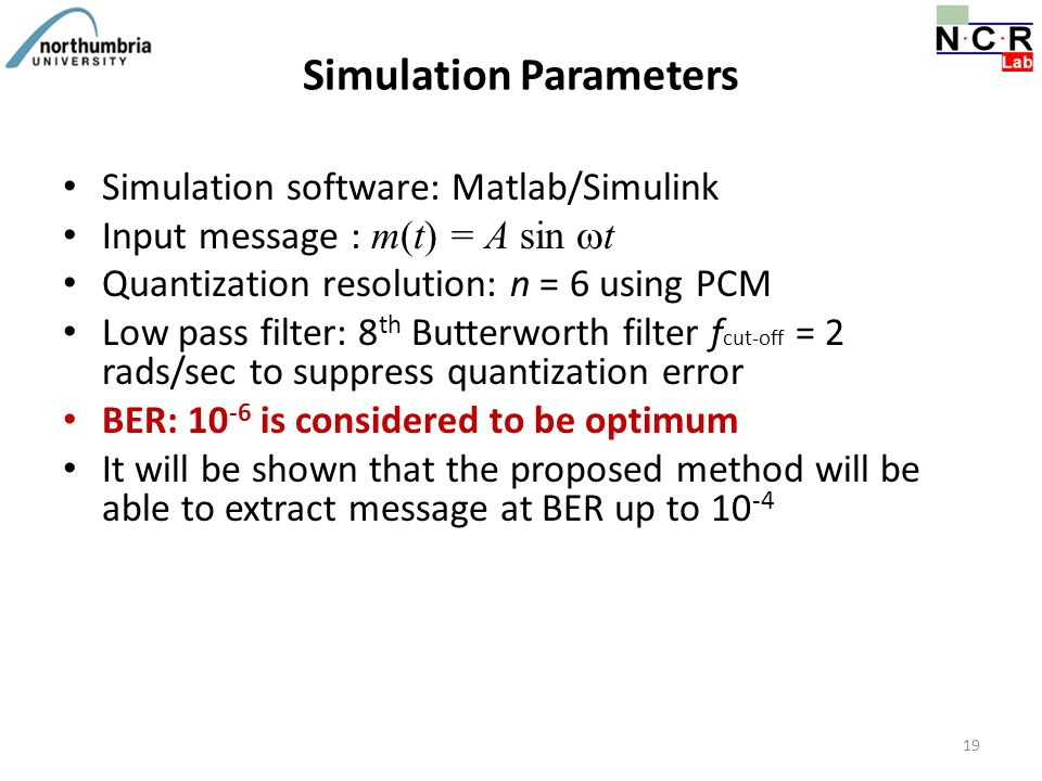 Simulation Parameters Simulation software: Matlab/Simulink Input message : m(t) = A sin  t Quantization resolution: n = 6 using PCM Low pass filter:
