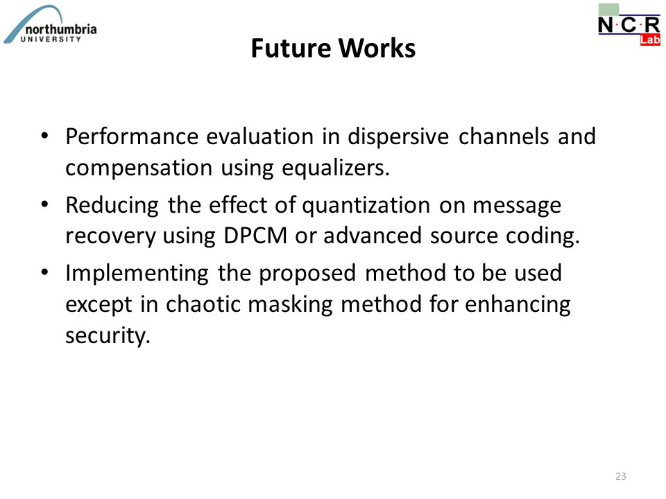 Future Works Performance evaluation in dispersive channels and compensation using equalizers. Reducing the effect of quantization on message recovery