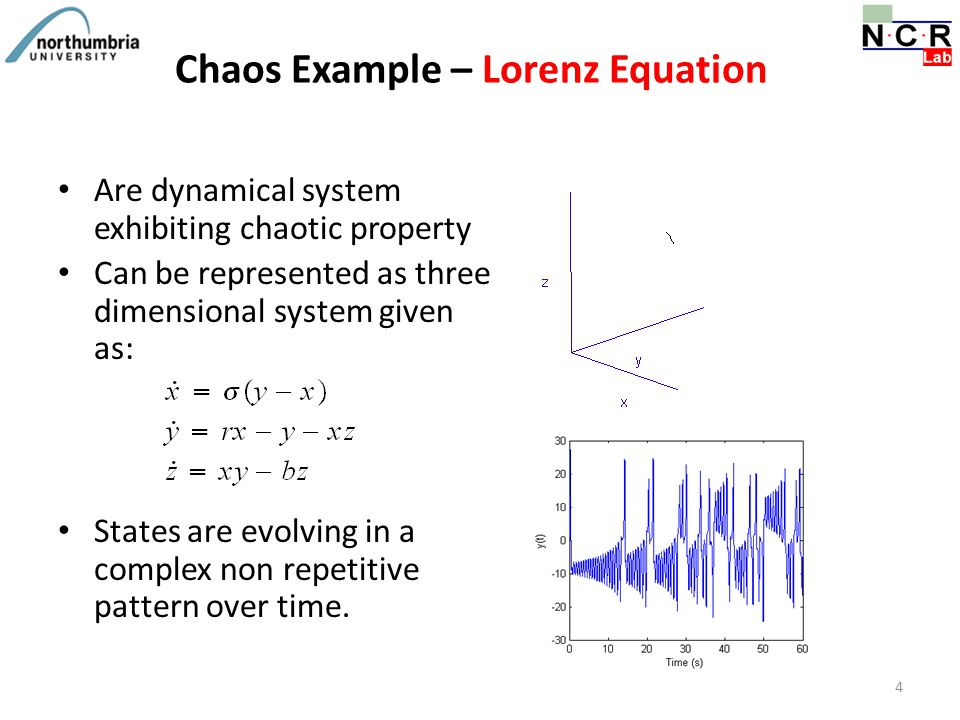 Chaos Example – Lorenz Equation Are dynamical system exhibiting chaotic property Can be represented as three dimensional system given as: States are e